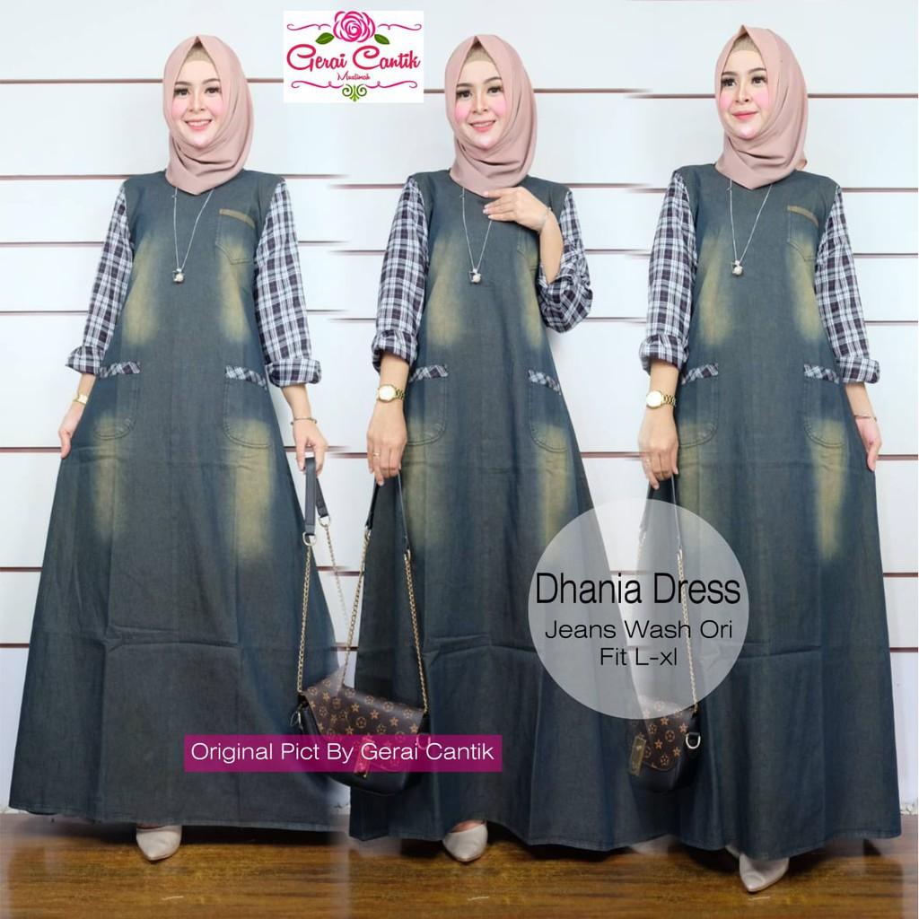 dhania long dress muslim wanita fashion cewek kekinian motif tempel jeans  wash remaja gamis griya