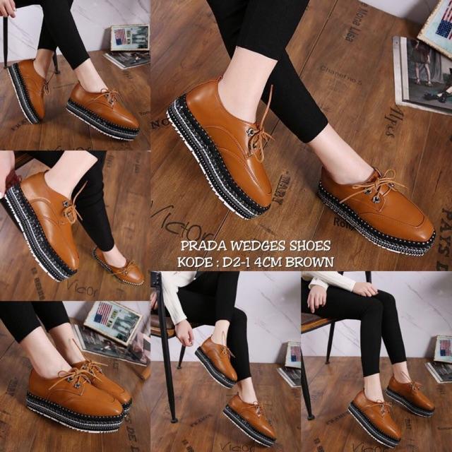Sepatu Prada 3173-20 wedges 5cm  af653cc37a