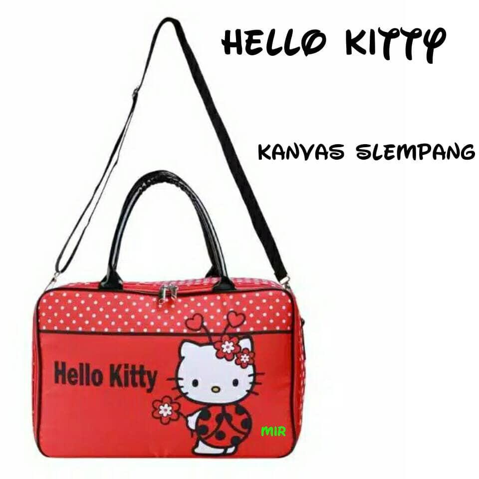 Travel Bag Kanvas Hello Kitty Pita Pink / tas koper piknik jinjing renang | Shopee Indonesia