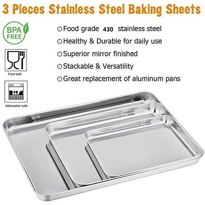 3pcs Baking Sheets Set Chef Cookie Sheets Stainless Steel Baking Pans Shopee Indonesia