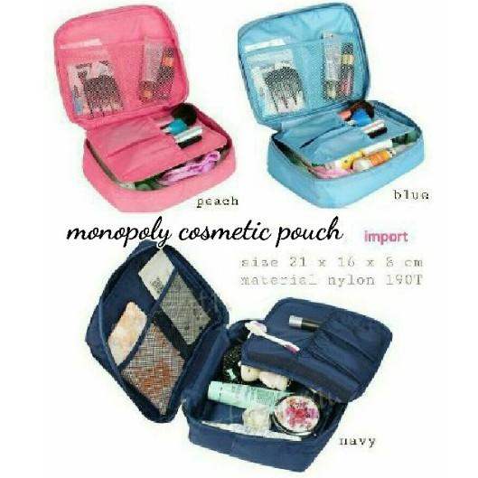 Tas kosmetik / Cosmetic organizer pouch / Monopoly Travel / Travel bag | Shopee Indonesia