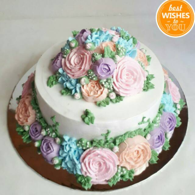 Kue Tart Weddingcake Korean Flowers Cake Kue Ulang Tahun Shopee Indonesia