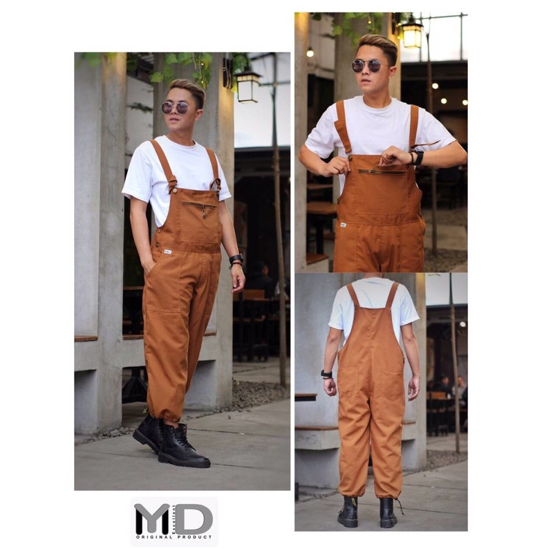 Overall Polos Pria jeans denim jumpsuit/Baju Kodok Caramel murah