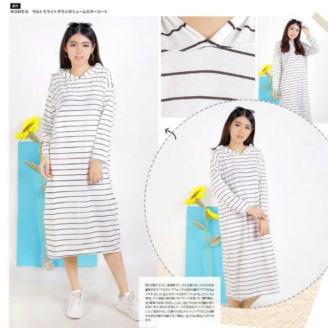 Jxc31 Damai fashion jakarta - dress muslim wanita CASANDRA salur - konveksi murah baju tanah abang $   Shopee Indonesia