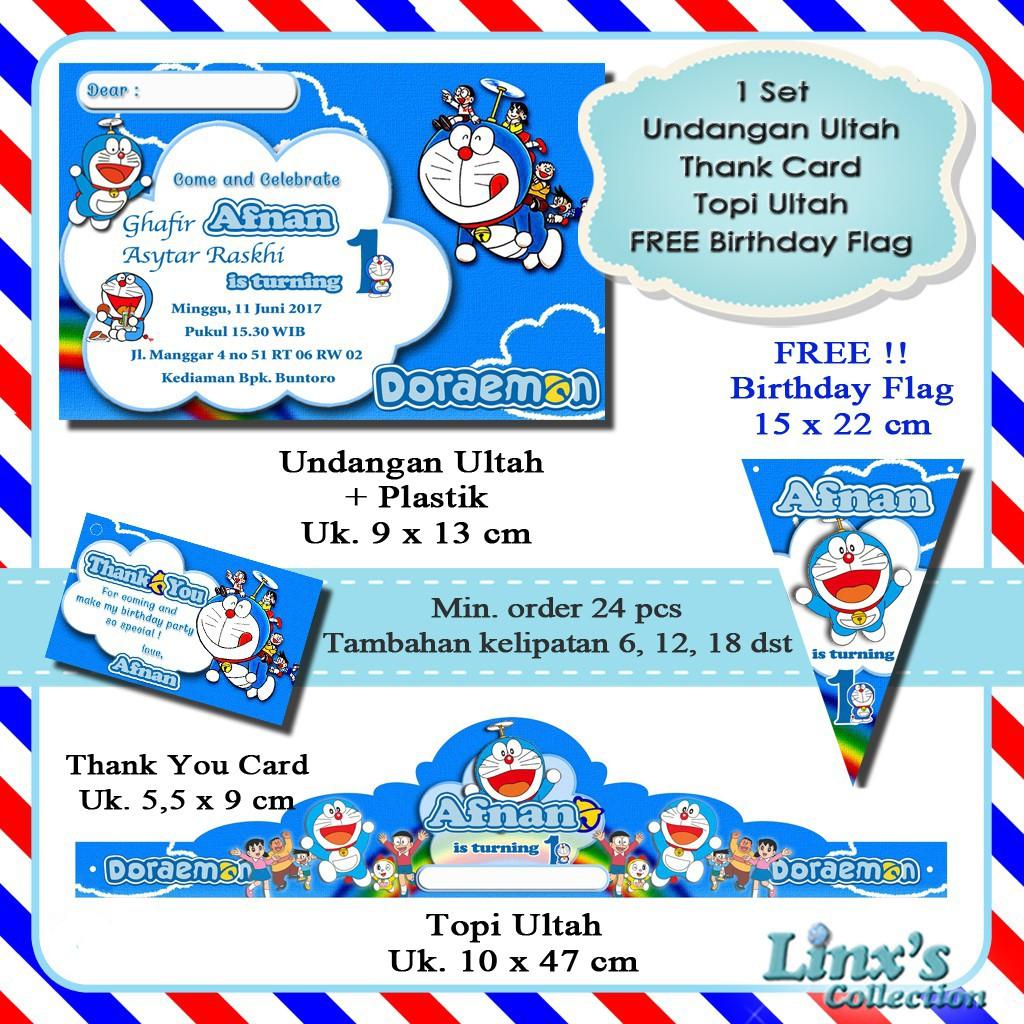 1 Set Undangan Ultah Anak Kartu Souvenir Topi Ulang Tahun Doraemon Shopee Indonesia