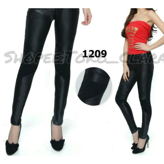 Legging Import Latex Panjang Hitam 1209 Legging Senam Legging Fashion Korea Legging Import Murah Shopee Indonesia