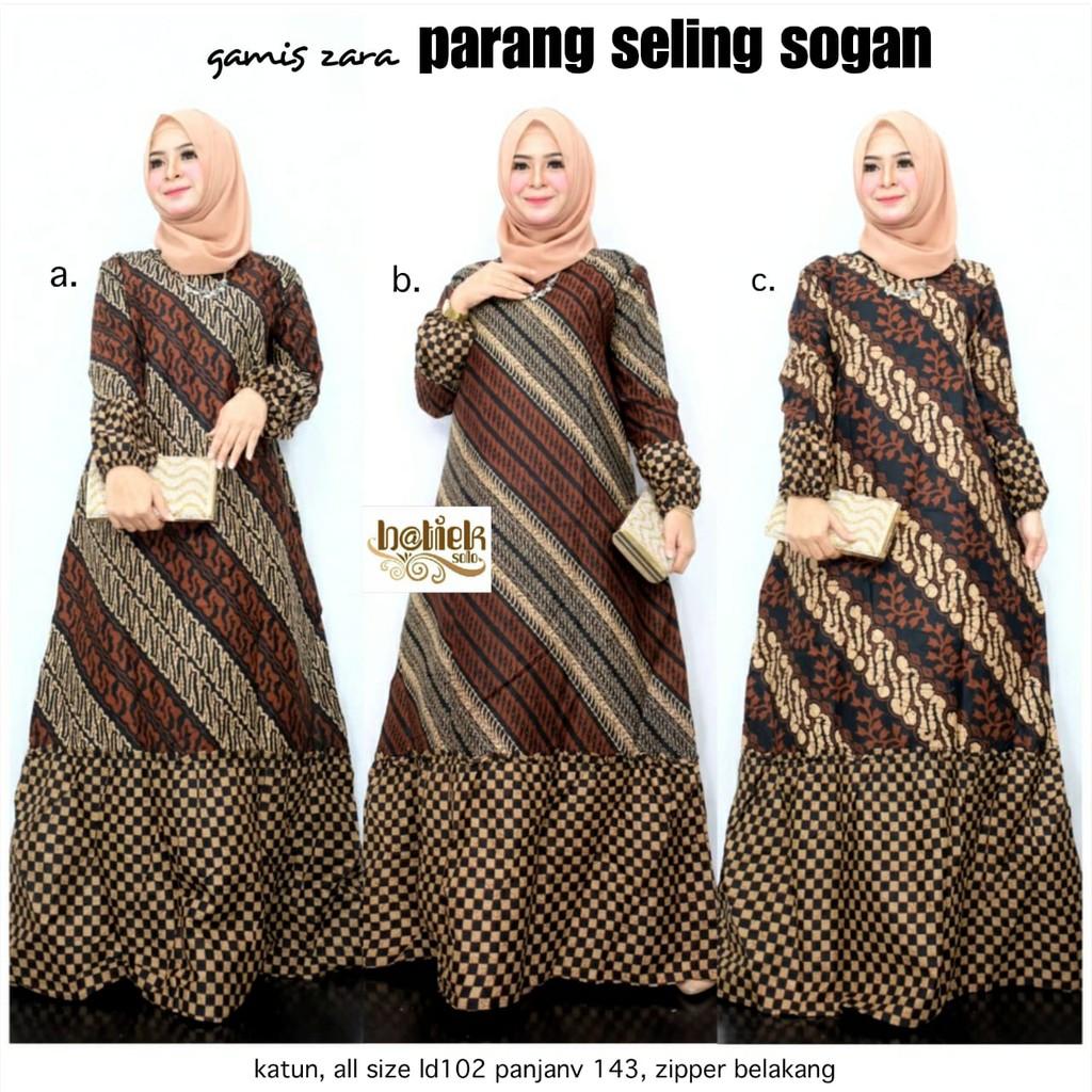 Gamis Batika Zara Parang Seling sogan