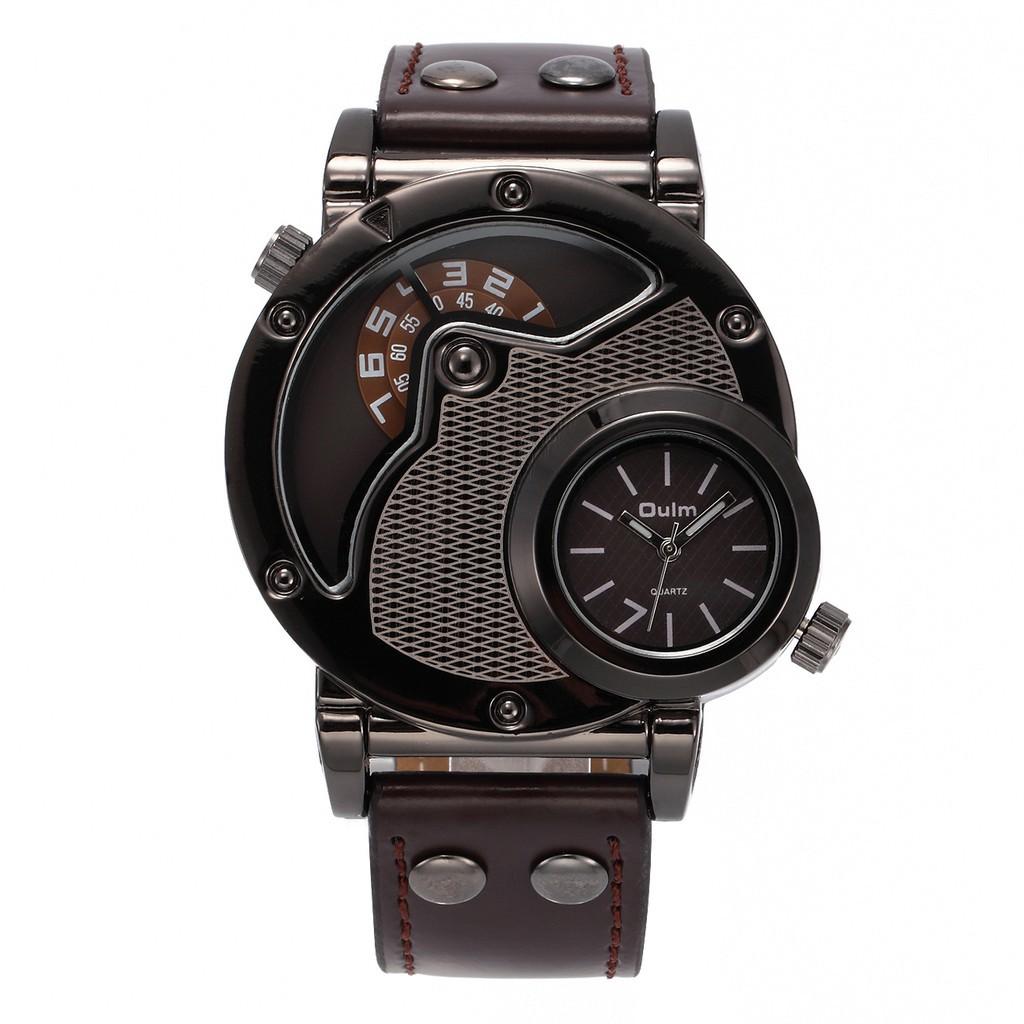 Timemaster OULM 3548 Jam Tangan Pria Quartz 3 Dial Waktu Bentuk Bulat Besar Strap  Kulit  bb48367ee0