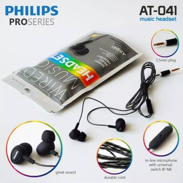 Earphone PHILIPS AT-041 stereo headset dynamic bass series