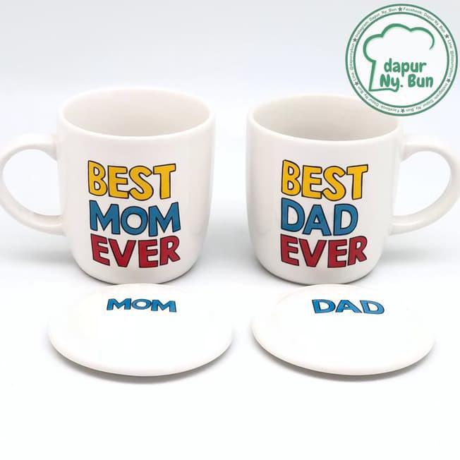 murah mug couple + tutup / best mom ever / best dad ever / mug keramik terbaik   Shopee Indonesia