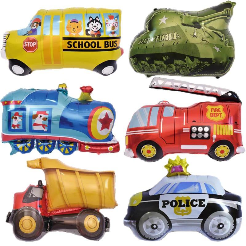 Diy Kartun Balon Mobil Truk Pemadam Kebakaran Mobil Kereta Foil Balon Ambulans Globos Anak Hadiah Ul Shopee Indonesia