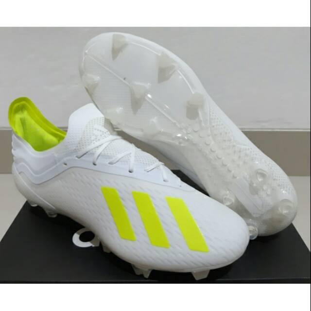 Sepatu Bola Adidas X18 1 White Volt Fg Shopee Indonesia