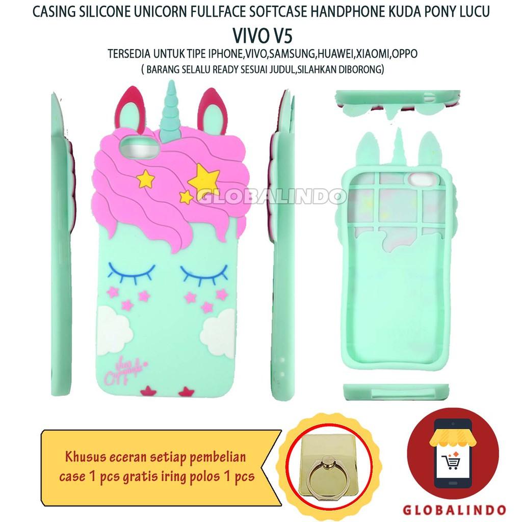 Paling Bagus Termurah Vivo V5 Case Boneka Unicorn softcase 4D FullColour Casing Cover Hp Favorite