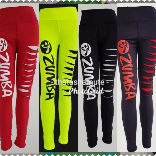 Celana Zumba Sobek Legging Ketat Senam Olahraga Celana Warna Celana Yoga Celana Leggings Shopee Indonesia