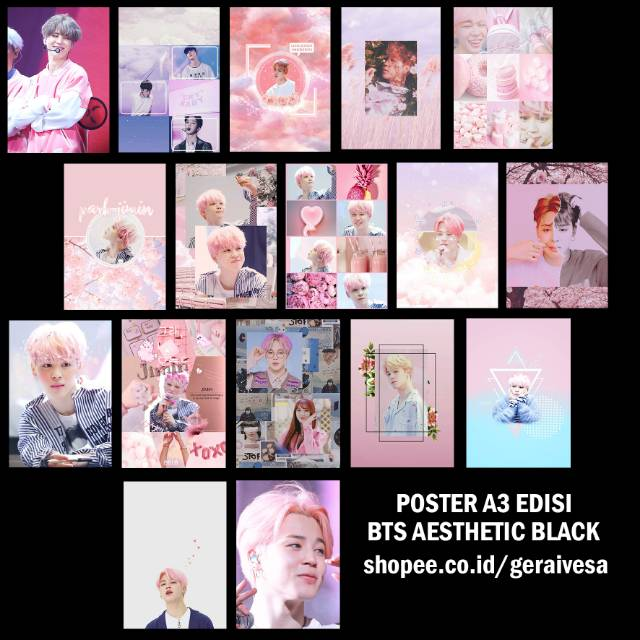 Poster A3 Bts Aesthetic Pink Shopee Indonesia