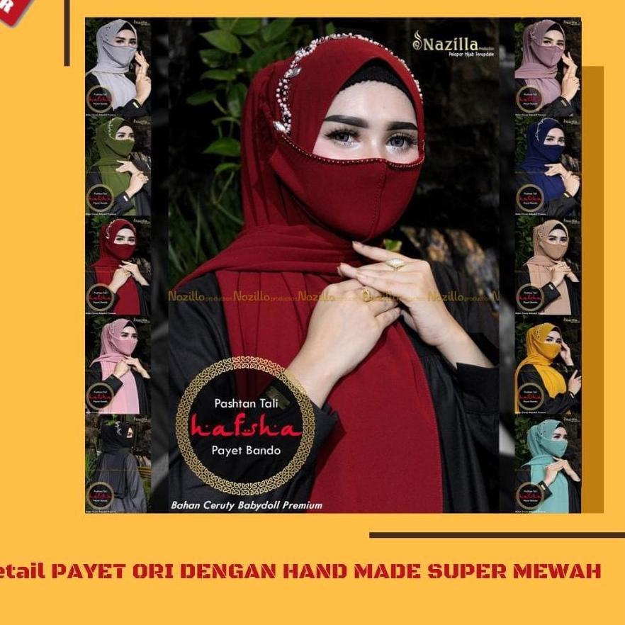 Produk Terbaru  - Hijab HAFSHA Pasmina Free Masker Payet Bando Hijab Pasmina Model Terbaru Krudung B