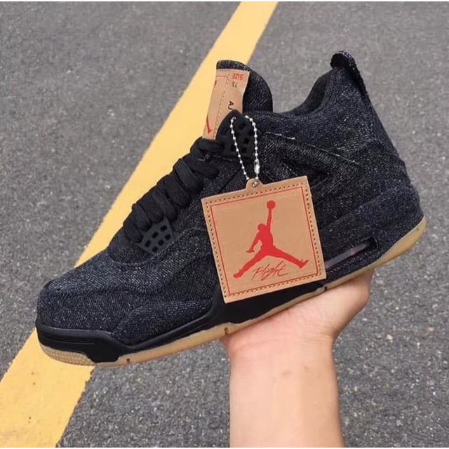 b4e41413213f Nike Air Jordan 4 Retro Levis Black - Sepatu Basket Black