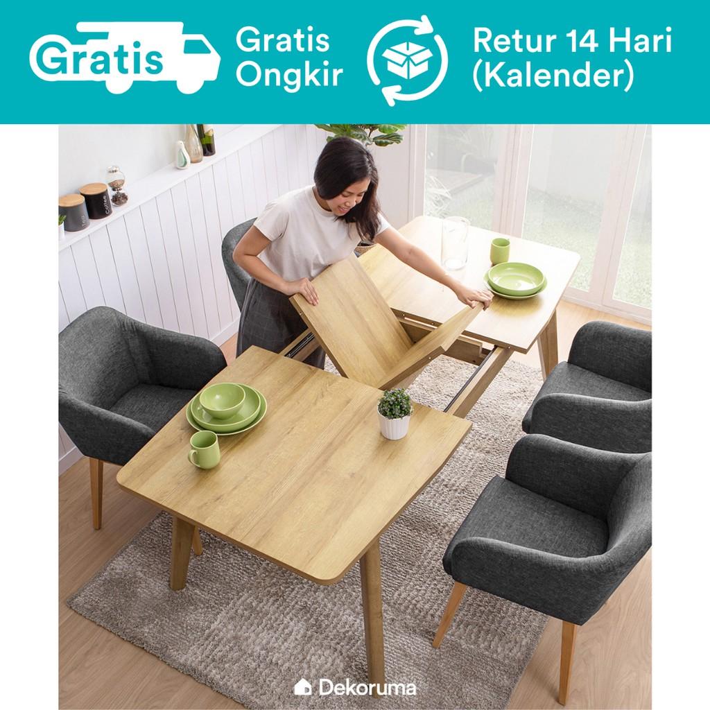 Dekoruma Setsu Meja Makan Minimalis Extendable Dining Table Dari Kayu Olahan Shopee Indonesia