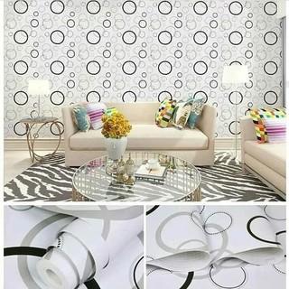 wallpaper sticker dinding putih polkadot hitam dekorasi