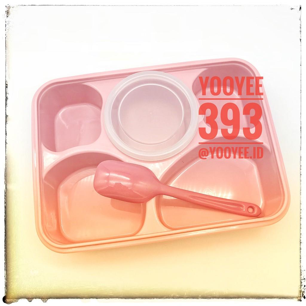 Kotak Makan Yooyee 5 Sekat Dengan Sup 393 Shopee Indonesia Leakproof Lunchbox Mini 605 4 Anti Tumpah Biru Muda