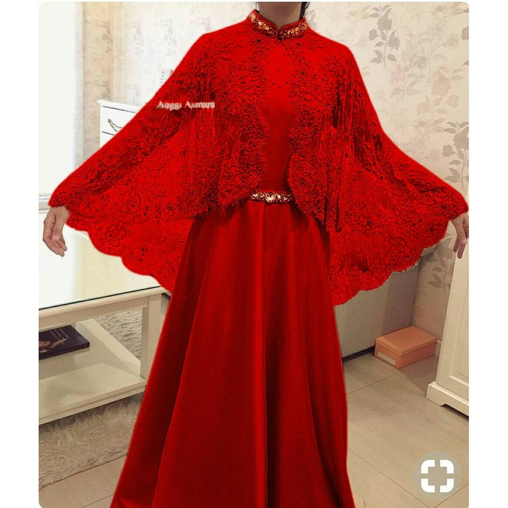 Maxi Anggi Merah Baju Muslim Wanita Gamis Pesta Terbaru Shopee Indonesia