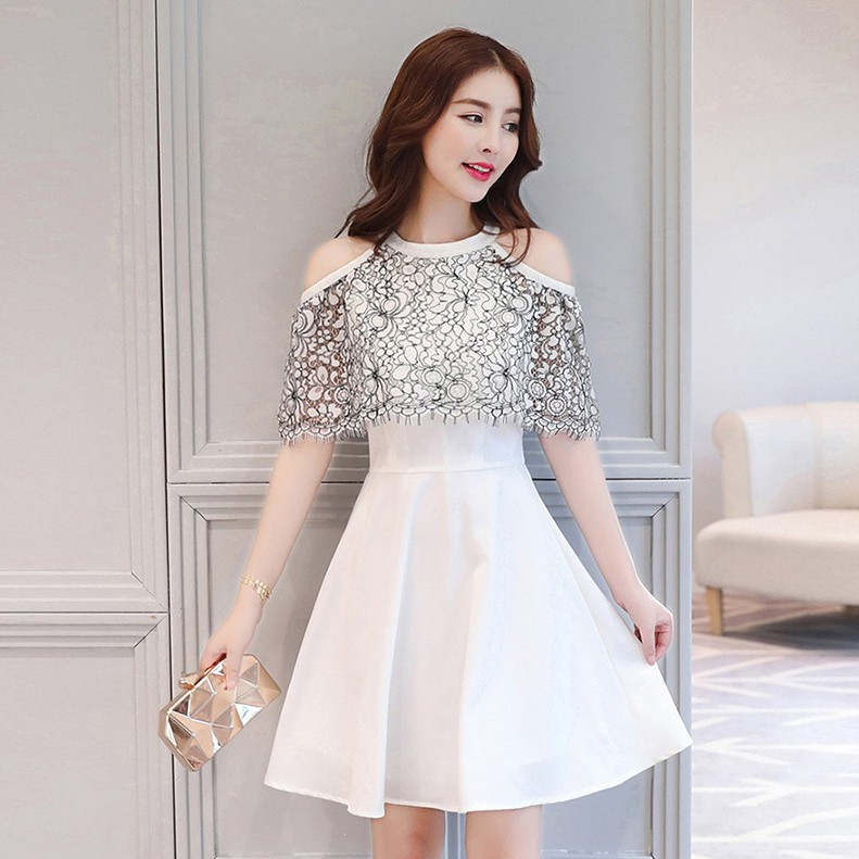 Party Mini Dress Pesta Brokat Pendek Putih Sabrina Lace Cold Shoulder Import Skater Dress A30951