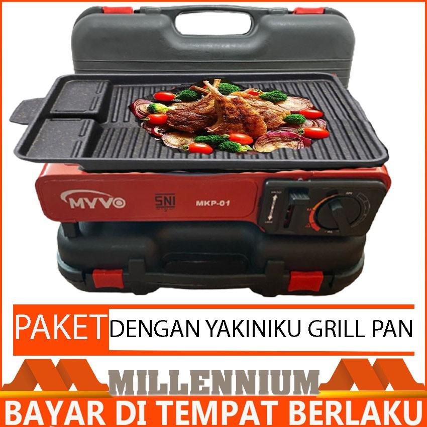 Paket Kompor Portable BBQ Yakiniku Grill Pan Kompor Gas Portable MYVO SNI