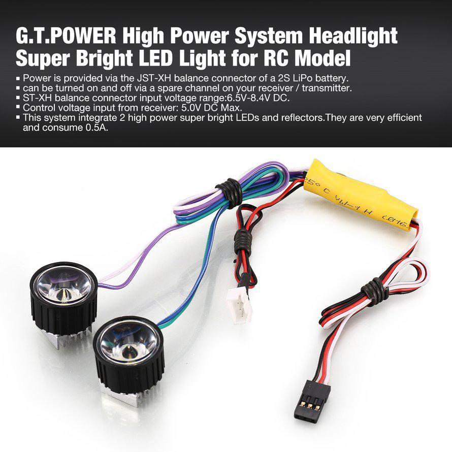 G.t.lampu Kepala LED Tenaga Tinggi Super Terang untuk Model RC on