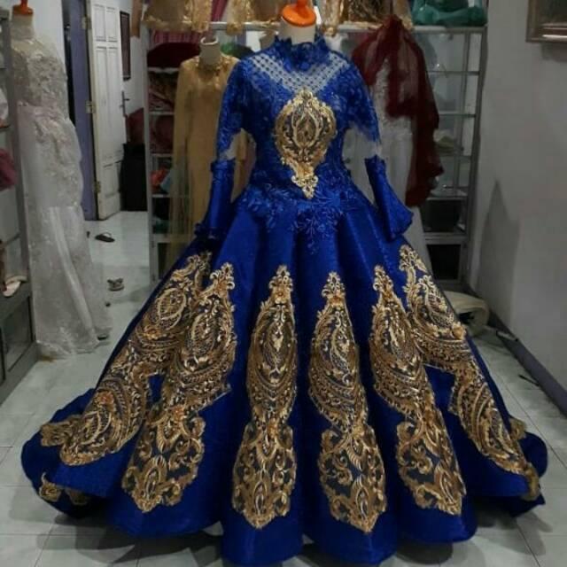 Gaun Pengantin Modern Belimbing Warna Biru Dan Gold Shopee Indonesia