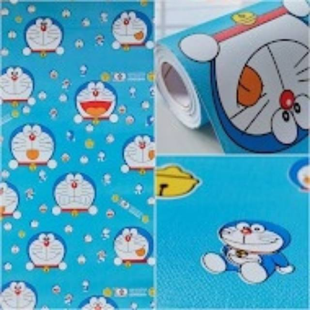 Grosir Wallpaper Sticker Dinding Biru Karakter Kartun Anak Doraemon Lonceng Lucu Imut 10 Meter Shopee Indonesia