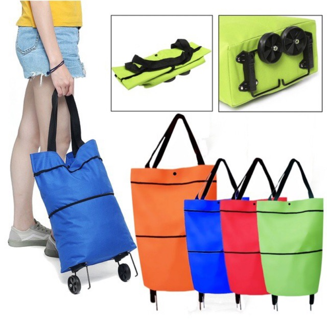 LITTLESKY - TAS TROLI LIPAT BELANJA BERODA/ FOLDABLE TROLLEY SHOPPING BAG | Shopee Indonesia