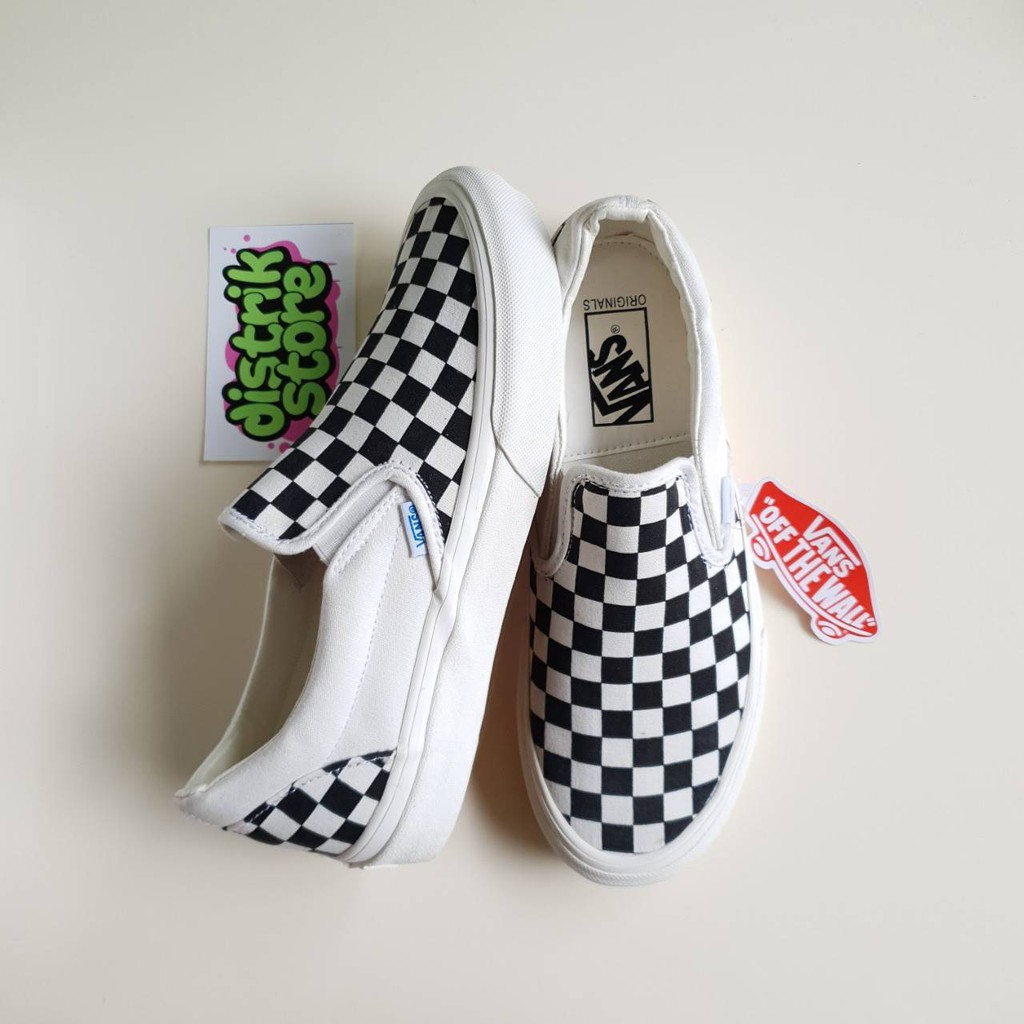 37cf66770d4 Vans Vault OG Classic slip-on LX CANVAS classic black and white checkerboard  plaid canvas pedal lazy
