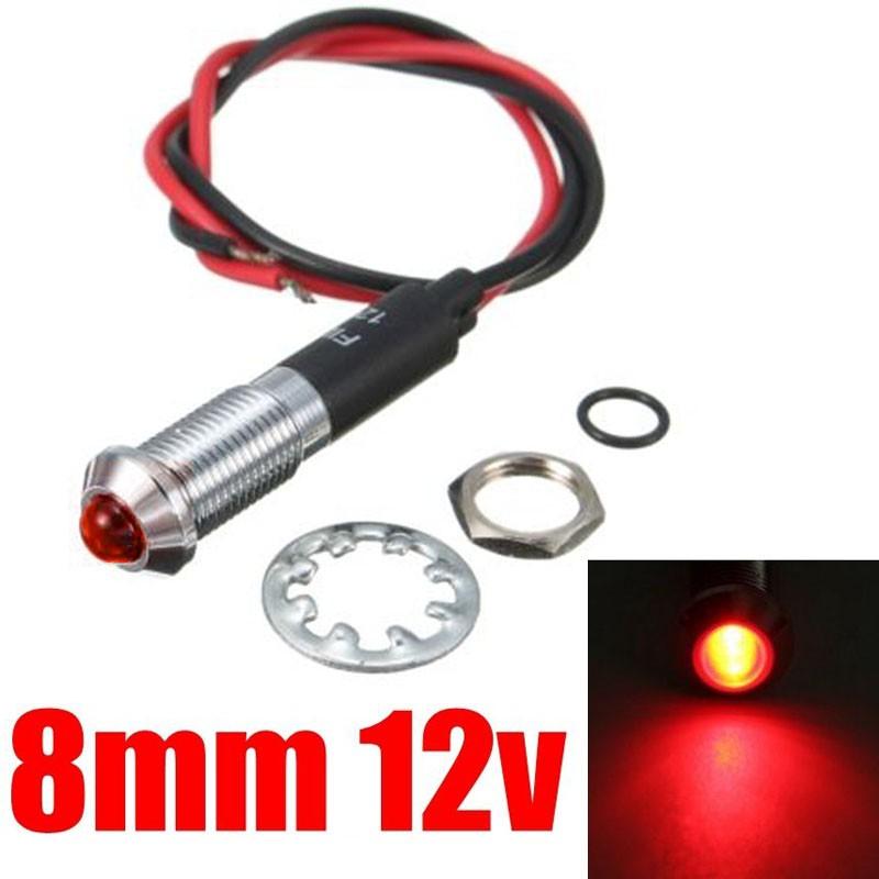 Red led light bulb dash panel warning indicator chrome lamep 12v  display