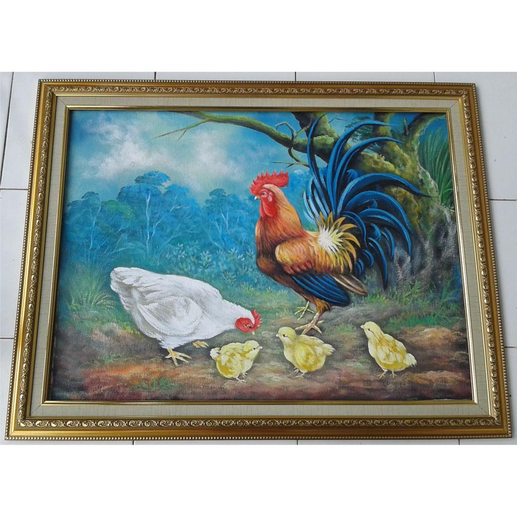 Lukisan Ayam Jantan Anak Dan Ayam Betina Shopee Indonesia
