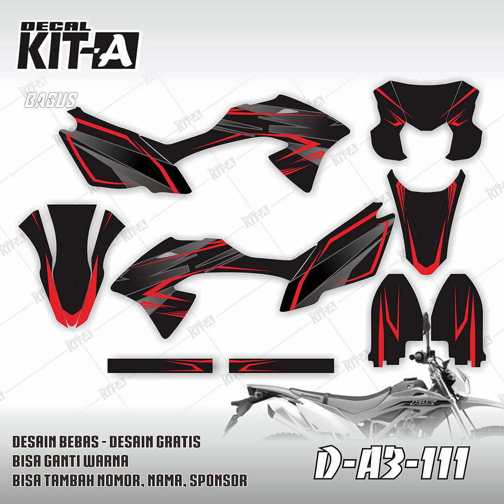 197 dekal decal motor klx 150 bf g stiker sticker striping body hitam kuning shopee indonesia