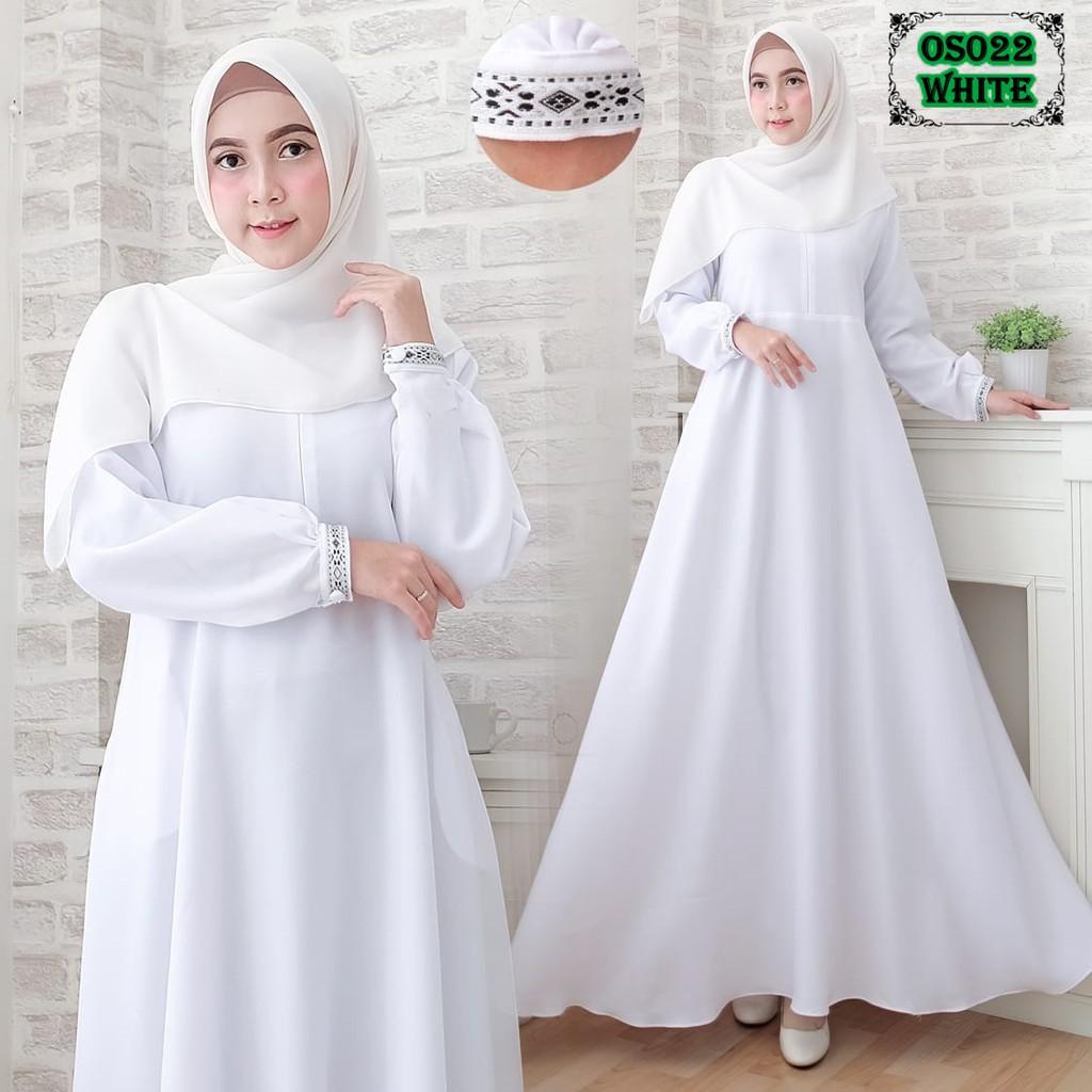 Best Seller Gamis OS11 WHITE GAMIS Umroh Gamis Putih Gamis Cantik Gamis  Putih Best Seller
