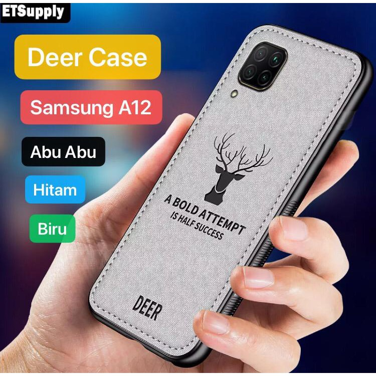 Case Samsung A12 Deer Emboidery Casing Cover Silikon Sarung Tpu Soft Case