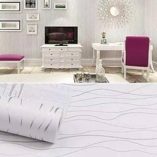 Promo Wallpaper Dinding Termurah Ruang Tamu Kamar Tidur Salur Putih