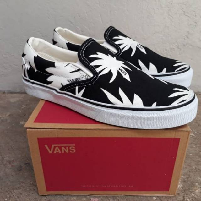 Sepatu Vans Slip On Motif Ganja Tanpa Tali Premium Shopee Indonesia