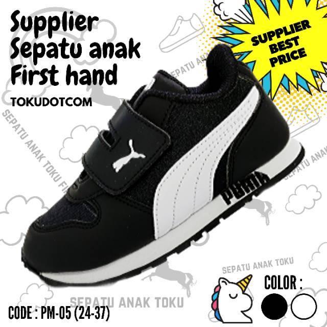 Free Box Sepatu Anak Murah Hitam Putih Velcro 1 7 Tahun Sepatu