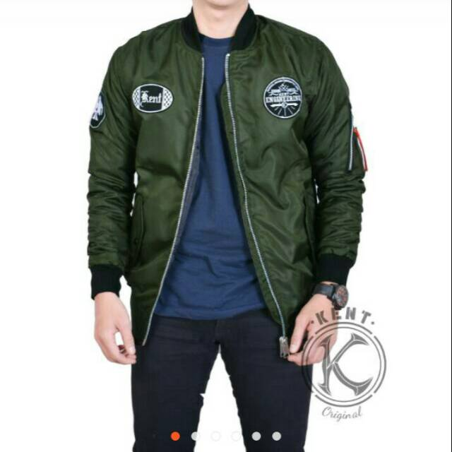 43bc7109f JAKET BOMBER KENT ENGINEERING GREEN | Shopee Indonesia