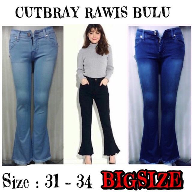 Celana Jeans Bigsize Wanita Cutbray Jumbo rawis bulu rumbai   Shopee Indonesia