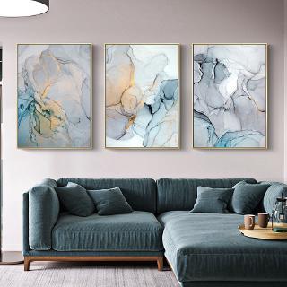 lukisan abstrak modern bahan kanvas warna pink / biru