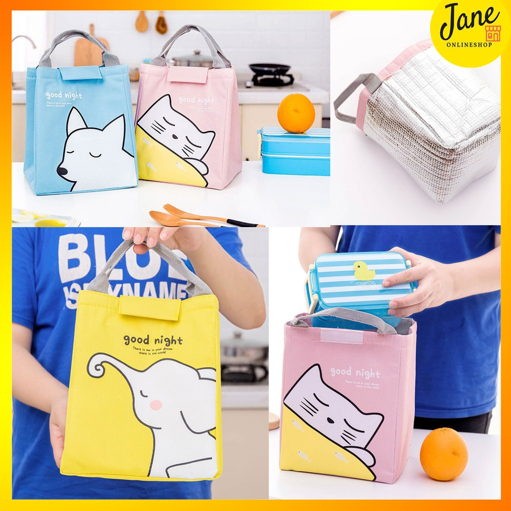 Tas Bekal Makan Foil Good Night Cute Animal Lunch Bag Cooler Warmer Bag Jclb10 Shopee Indonesia