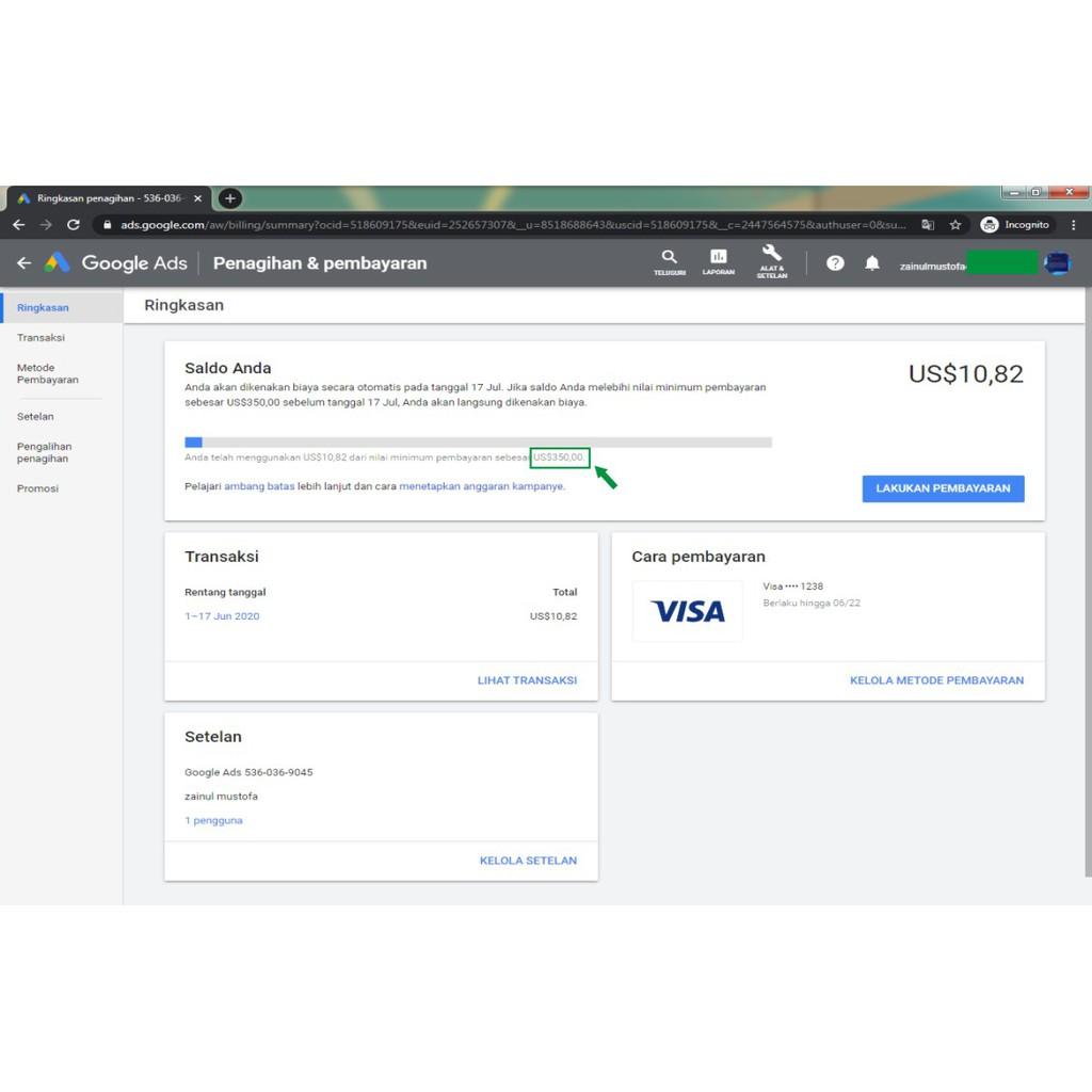 Akun Google Ads Atau Google Adwords Saldo Limit 350 Dollar Tinggal Pakai Shopee Indonesia