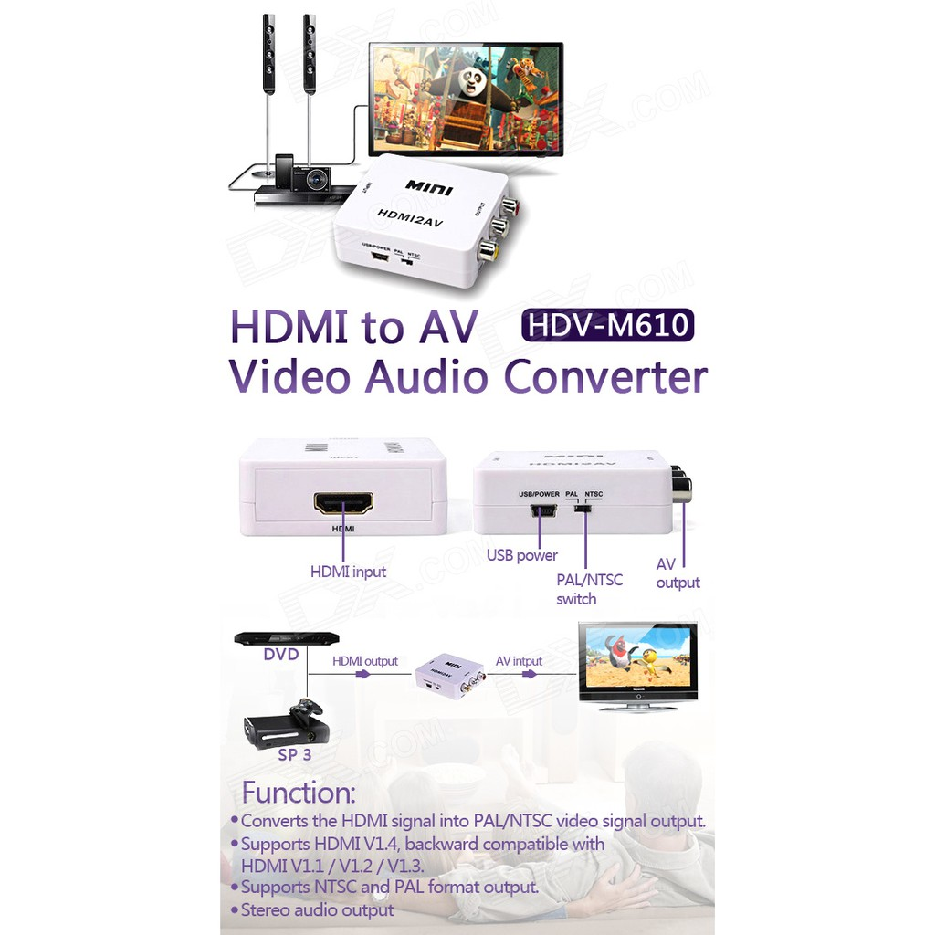 Hdmi To Av Rca Converter Adapter Mini Box Shopee Indonesia Mdisk Kabel Ultra High Definition 4k 15 Meter G192