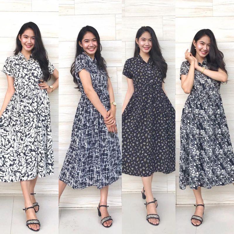 MIDI DRESS LENGAN PENDEK KATUN RAYON | Shopee Indonesia