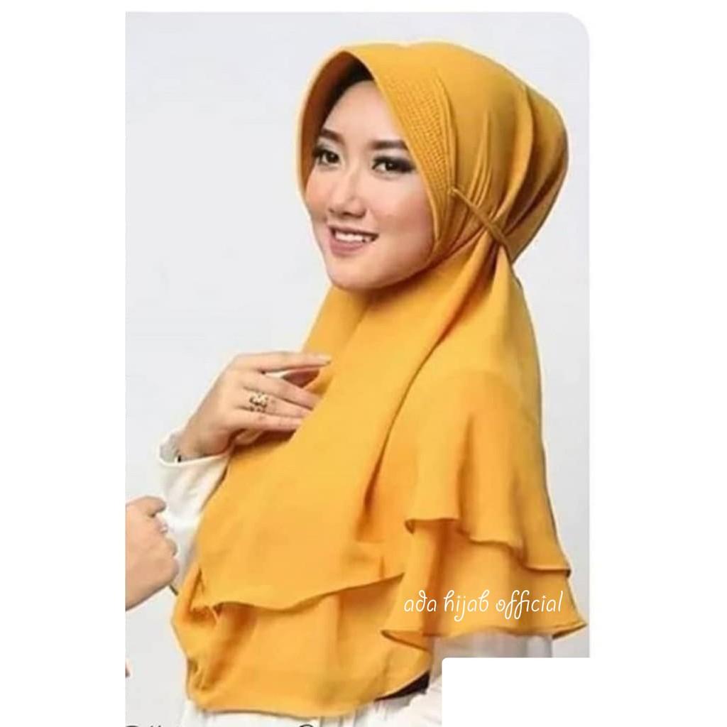 Bergo Maryam Pad Wolfis Khimar 2 Layer Tali Jilbab Syari Hijab Instan Kerudung Pet Antem Shopee Indonesia
