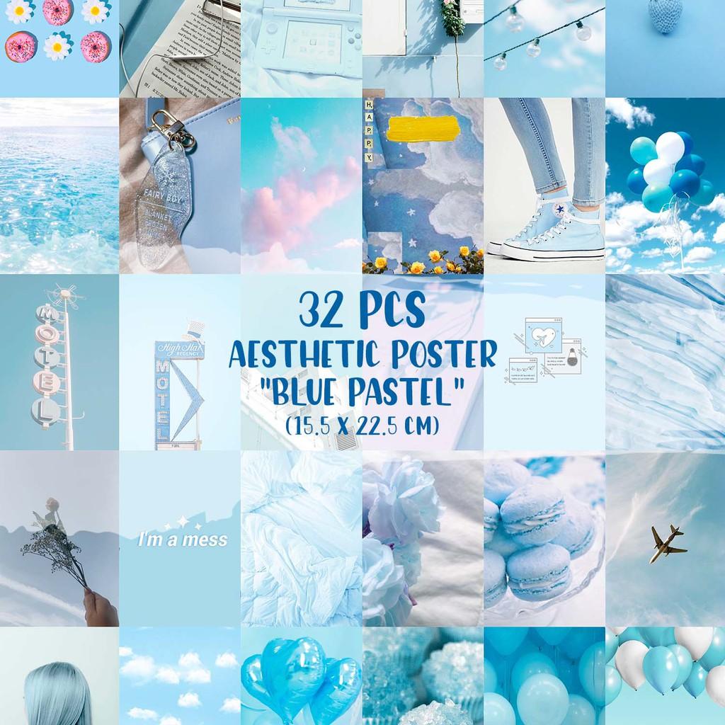 32 Pcs Poster Aesthetic Blue Pastel Sky Version Shopee Indonesia
