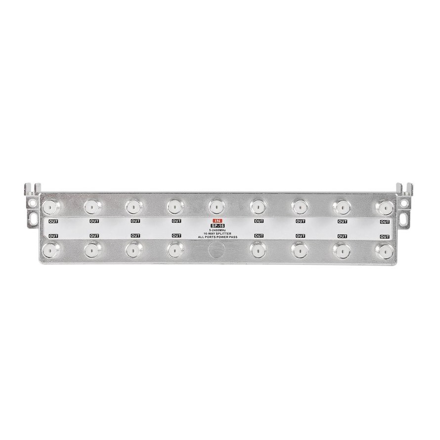 SP-16 Satellite 16-Way Splitter Coaxial 5-2400MHz HDTV Antenna Digital TV Video Signal Separator with All Ports Power Pass